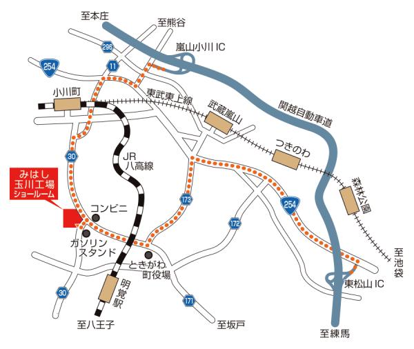 みはし株式会社 玉川工場内 ショールーム アクセスマップ